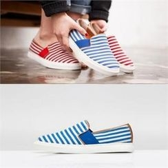 SHOES ROOM - Striped Faux-Leather Slip-Ons