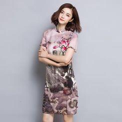 la nuit - Floral Print Short-Sleeve Cheongsam