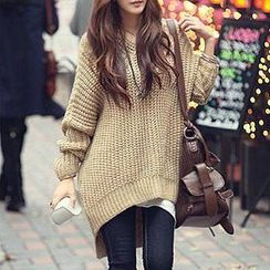 Fashion Street - Hooded Dip Back Chunky Sweater