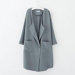 Meimei - Plain Long Trench Coat