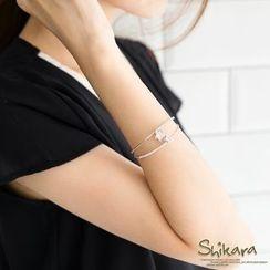 OrangeBear - Star-Rhinestone Double-Chain Bracelet