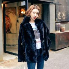 Seoul Fashion - Belted Faux-Fur Jacket