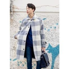 GERIO - Single-Breasted Gingham Coat