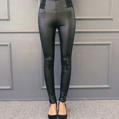DANI LOVE - Faux-Leather Fleece-Lined Leggings