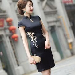 Miss Four Qipao - Lace Back Cap-Sleeve Cheongsam