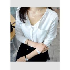 DEEPNY - Open-Placket Pocket-Front Chiffon Top