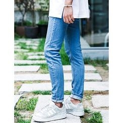 STYLEMAN - Drawstring-Waist Straight-Cut Jeans