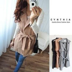 CYNTHIA - Sleeveless Tie-Waist Trench Coat