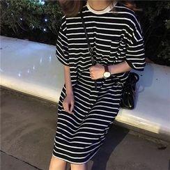 bombee - 條紋短袖T恤連衣裙