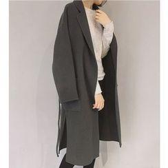 MATO - Long Notch Lapel Woolen Coat