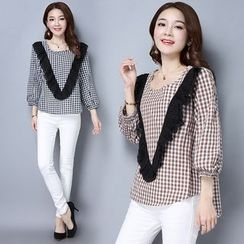 Sienne - 3/4-Sleeve Check Blouse