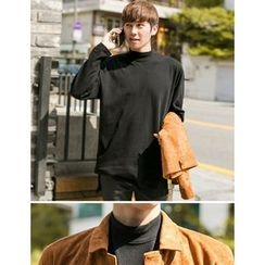 STYLEMAN - Mock-Neck Colored T-Shirt