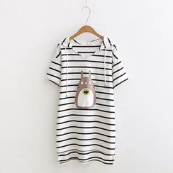 Angel Love - Striped Hooded Short-Sleeve Long T-Shirt