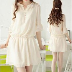 Sienne - 3/4-Sleeve Chiffon A-Line Dress