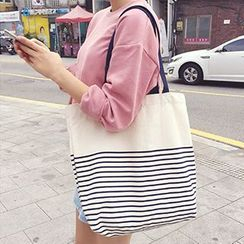 Ms Bean - Striped Canvas Shopper Bag