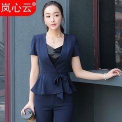 Skyheart - 套裝: 短袖荷葉腰夾克 + 西褲 / 裙子