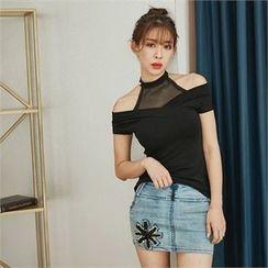 clubber - Distressed Denim Miniskirt