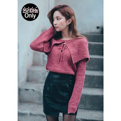 Chlo.D.Manon - Tie-Neck Capelet Knit Sweater