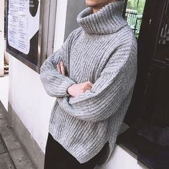 Mr. Cai - Plain Mock Neck Sweater