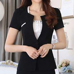 Caroe - Short-Sleeve Single Button Blazer / Set: Short-Sleeve Single Button Blazer + Skirt