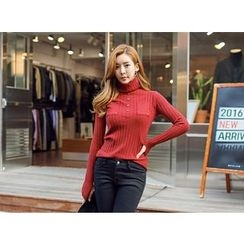 UUZONE - Turtleneck Rib-Knit Top