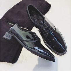 Chryse - 粗跟人造漆皮牛津鞋