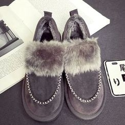SouthBay Shoes - Furry Trim Slip-Ons