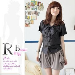 RingBear - Bow Front Satin Shirt