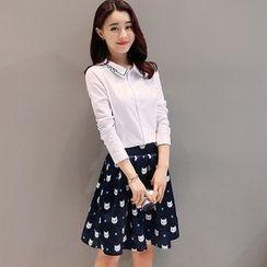 Maine - 套装:刺绣衬衫 + 印花裙