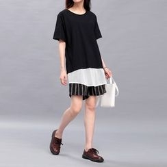 Sonne - Mock Two-Piece Mesh-Hem T-Shirt