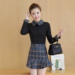 Yumerakka - Set: Long-Sleeve Collared Top + Plaid Ruffle Skirt