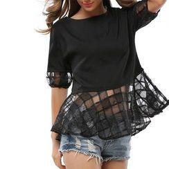 LIVA GIRL - 網紗下擺中袖上衣