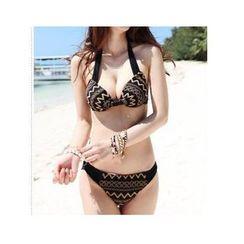 Jumei - 套裝: 刺繡比基尼泳衣 + 背心