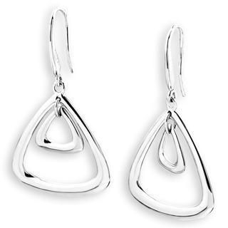 MaBelle - Bling Bling Platinum Plated 925 Triangle Drop Earrings