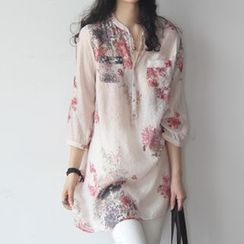 MayFair - Floral Print 3/4-Sleeve Long Blouse