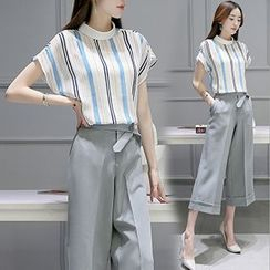 lilygirl - Set: Stripe Short-Sleeve Top + Cropped Wide Leg Pants