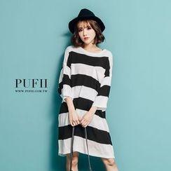 PUFII - 寬條紋配色長版針織上衣