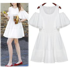 GRACI - Short-Sleeve Shoulder Cut Out Frilled Dress
