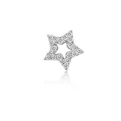 MBLife.com - Left Right Accessory - 9K White Gold Hollow Open Star Pave Diamond Single Stud Earring (0.05cttw)