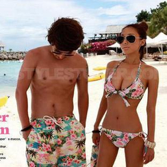 Sweet Splash - Couple Set: Floral Bikini + Swim Shorts / Swim Shorts