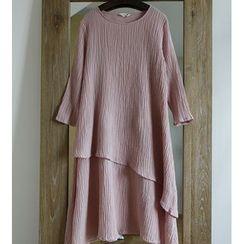 Rosadame - 不对称麻混纺A字连衣裙