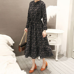 NANING9 - Tie-Shoulder Pattern A-Line Long Dress