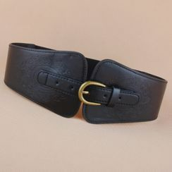 Goldenrod - Embossed Faux-Leather Elastic Belt