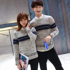 Bonne Nuit - Couple Matching Patterned Melange Knit Top