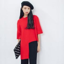 Everies - 3/4-Sleeve Asymmetric Knit Pullover