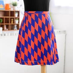 59 Seconds - Argyle Print A-Line Skirt