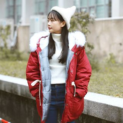 Sens Collection - Furry Trim Hooded Padded Coat