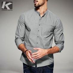 Quincy King - Stand Collar Long-Sleeve Shirt