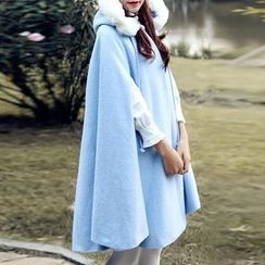MUSI - Furry Trim Woolen Hooded Cape