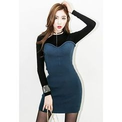 INSTYLEFIT - Mock Two-Piece Bodycon Mini Dress